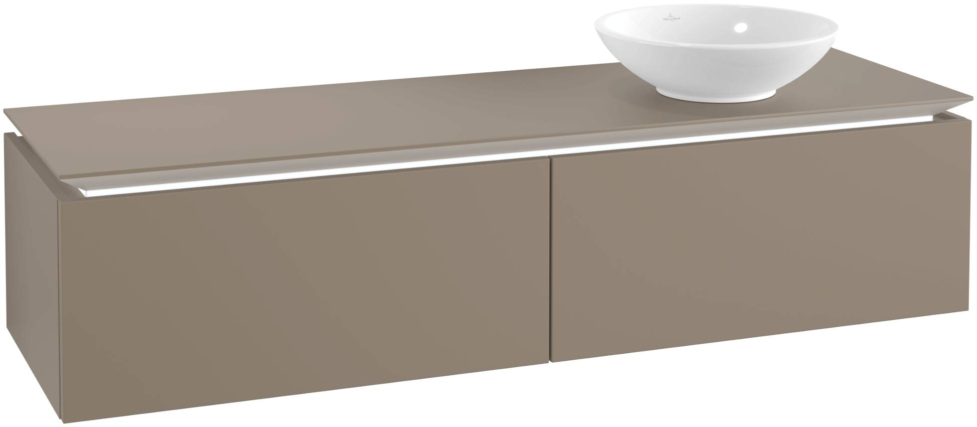 Villeroy & Boch Villeroy & Boch Legato - Meuble sous lavabo with 2 drawers & 1 cut-out right 1600 x 380 x 500mm truffle grey