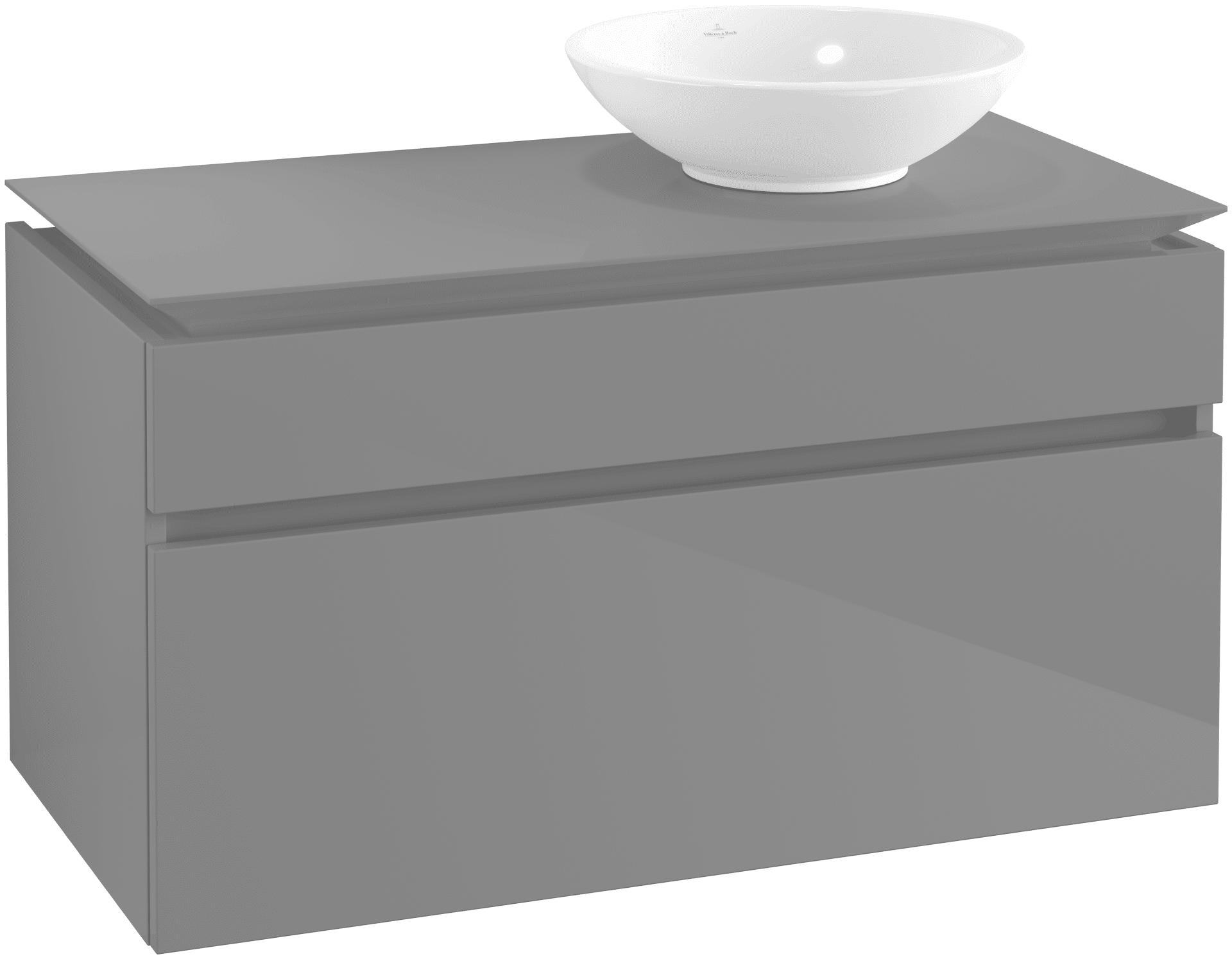 Villeroy & Boch Villeroy & Boch Legato - Meuble sous lavabo with 2 drawers & 1 cut-out right 1000 x 550 x 500mm gris lustré