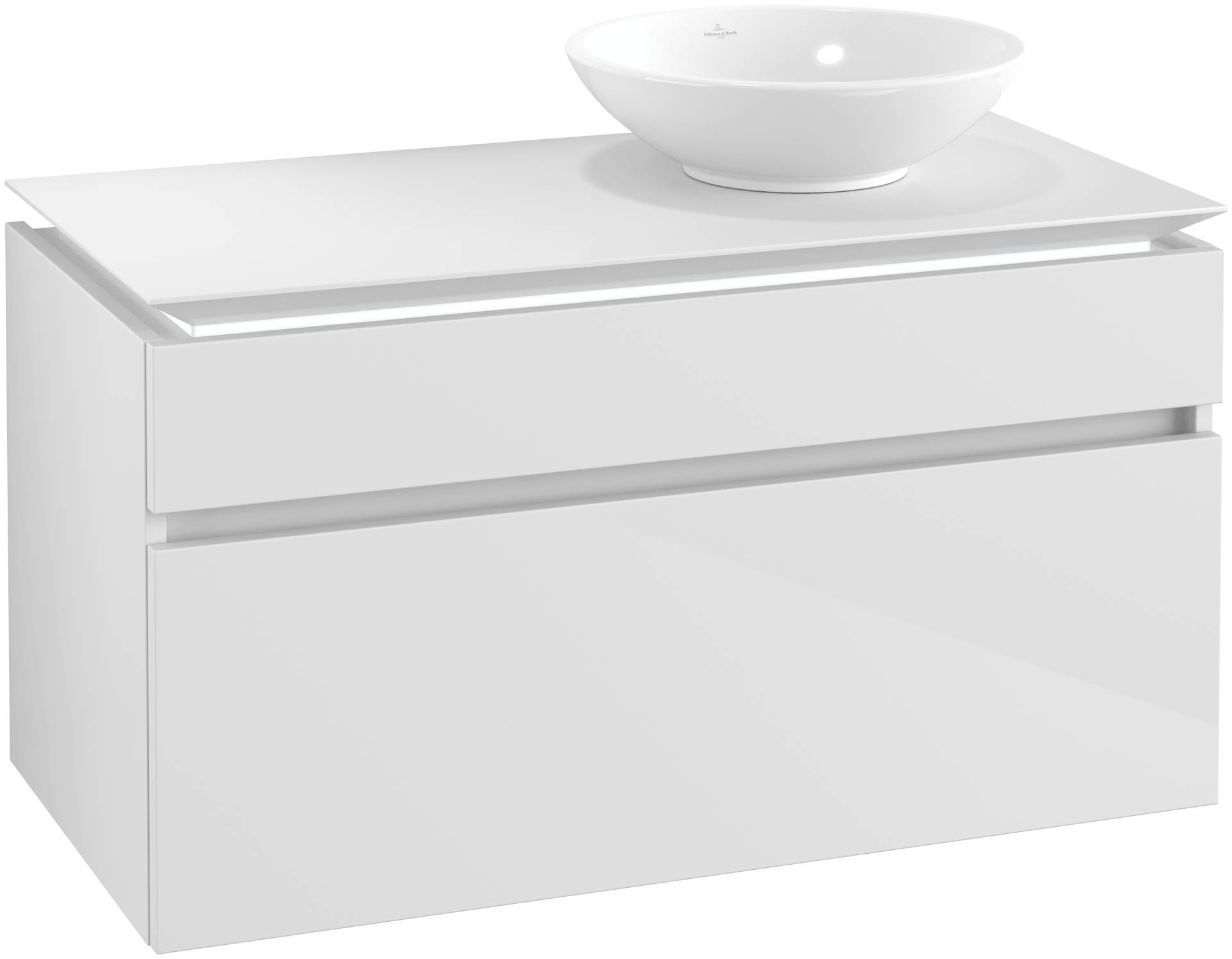 Villeroy & Boch Villeroy & Boch Legato - Meuble sous lavabo with 2 drawers & 1 cut-out right 1000 x 550 x 500mm blanc lustré