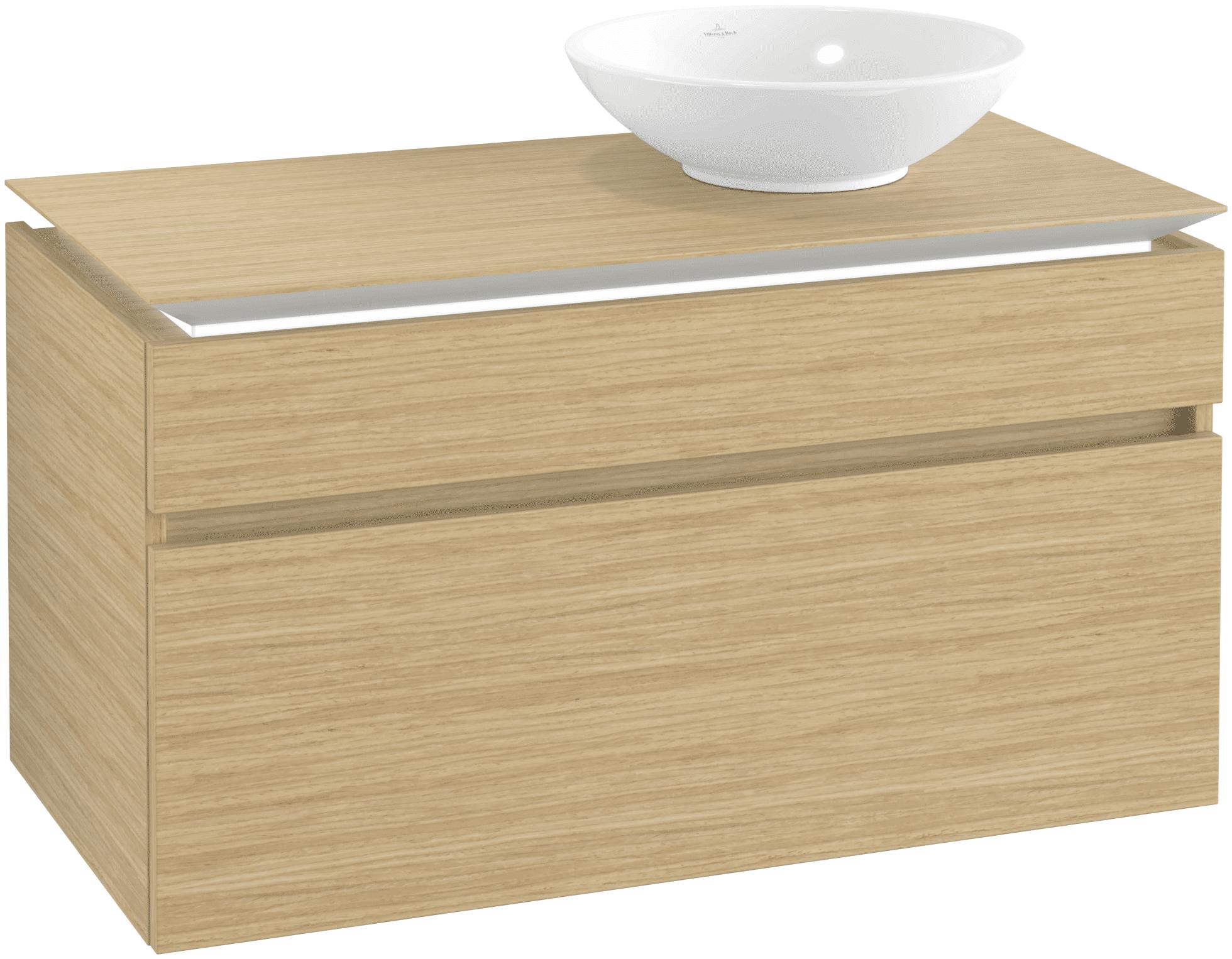 Villeroy & Boch Villeroy & Boch Legato - Meuble sous lavabo with 2 drawers & 1 cut-out right 1000 x 550 x 500mm nordic oak