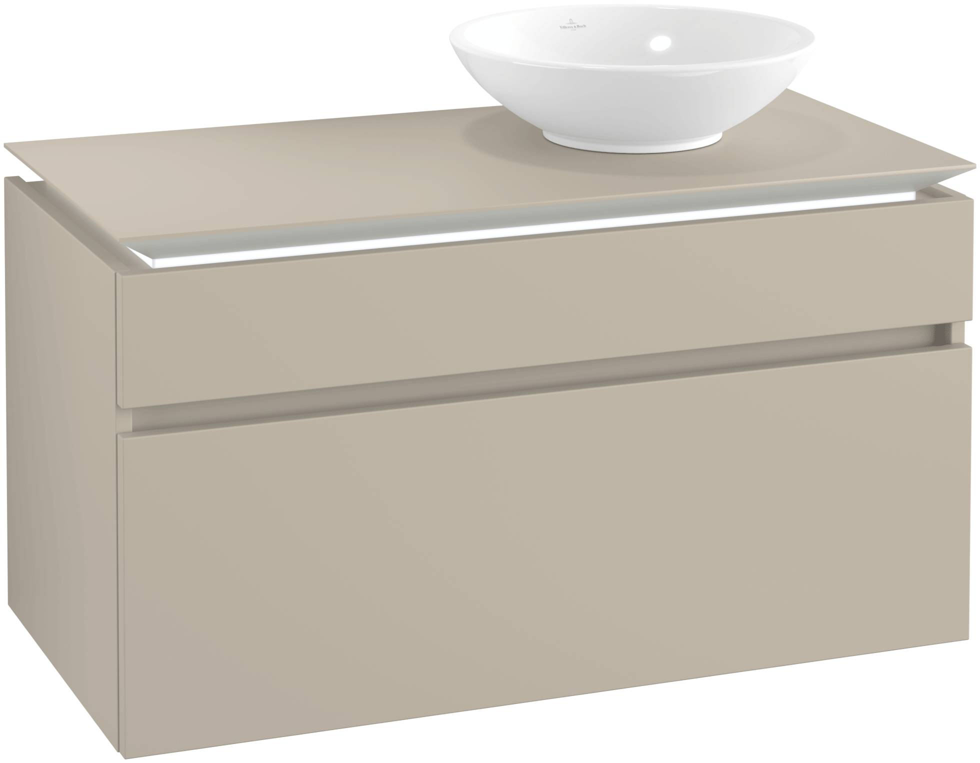 Villeroy & Boch Villeroy & Boch Legato - Meuble sous lavabo with 2 drawers & 1 cut-out right 1000 x 550 x 500mm soft grey