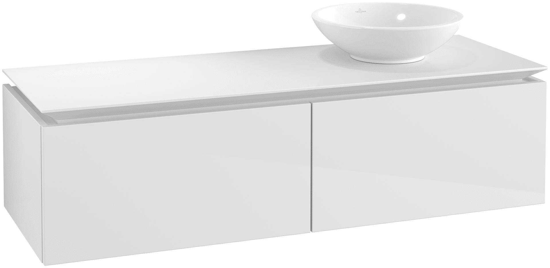 Villeroy & Boch Villeroy & Boch Legato - Meuble sous lavabo with 2 drawers & 1 cut-out right 1400 x 380 x 500mm blanc lustré