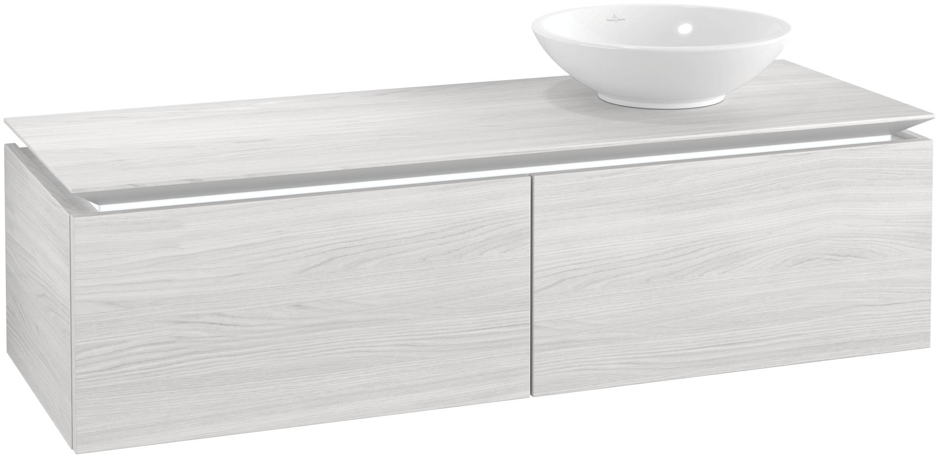 Villeroy & Boch Villeroy & Boch Legato - Meuble sous lavabo with 2 drawers & 1 cut-out right 1400 x 380 x 500mm bois blanc