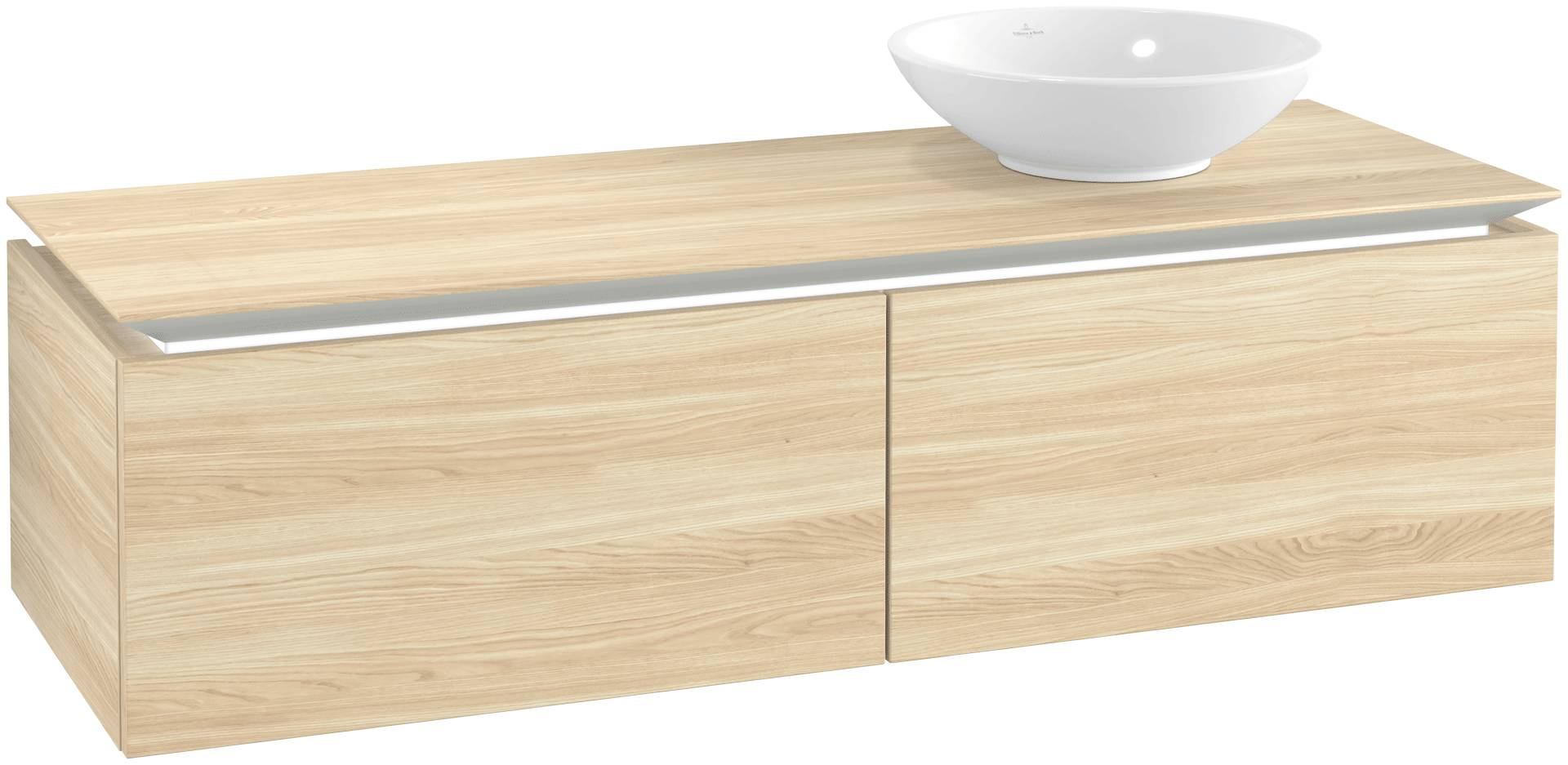 Villeroy & Boch Villeroy & Boch Legato - Meuble sous lavabo with 2 drawers & 1 cut-out right 1400 x 380 x 500mm orme impresso