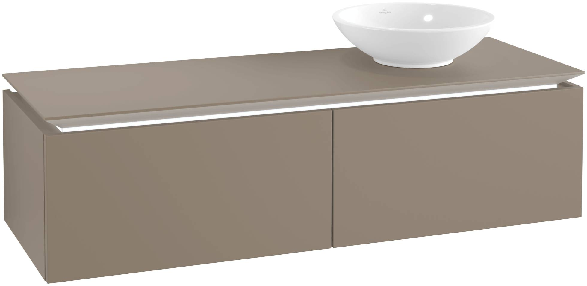 Villeroy & Boch Villeroy & Boch Legato - Meuble sous lavabo with 2 drawers & 1 cut-out right 1400 x 380 x 500mm truffle grey