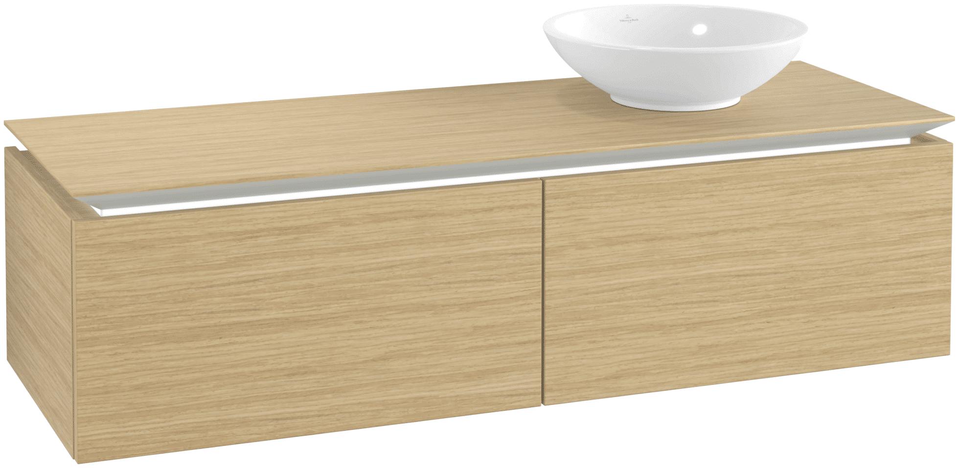 Villeroy & Boch Villeroy & Boch Legato - Meuble sous lavabo with 2 drawers & 1 cut-out right 1400 x 380 x 500mm nordic oak