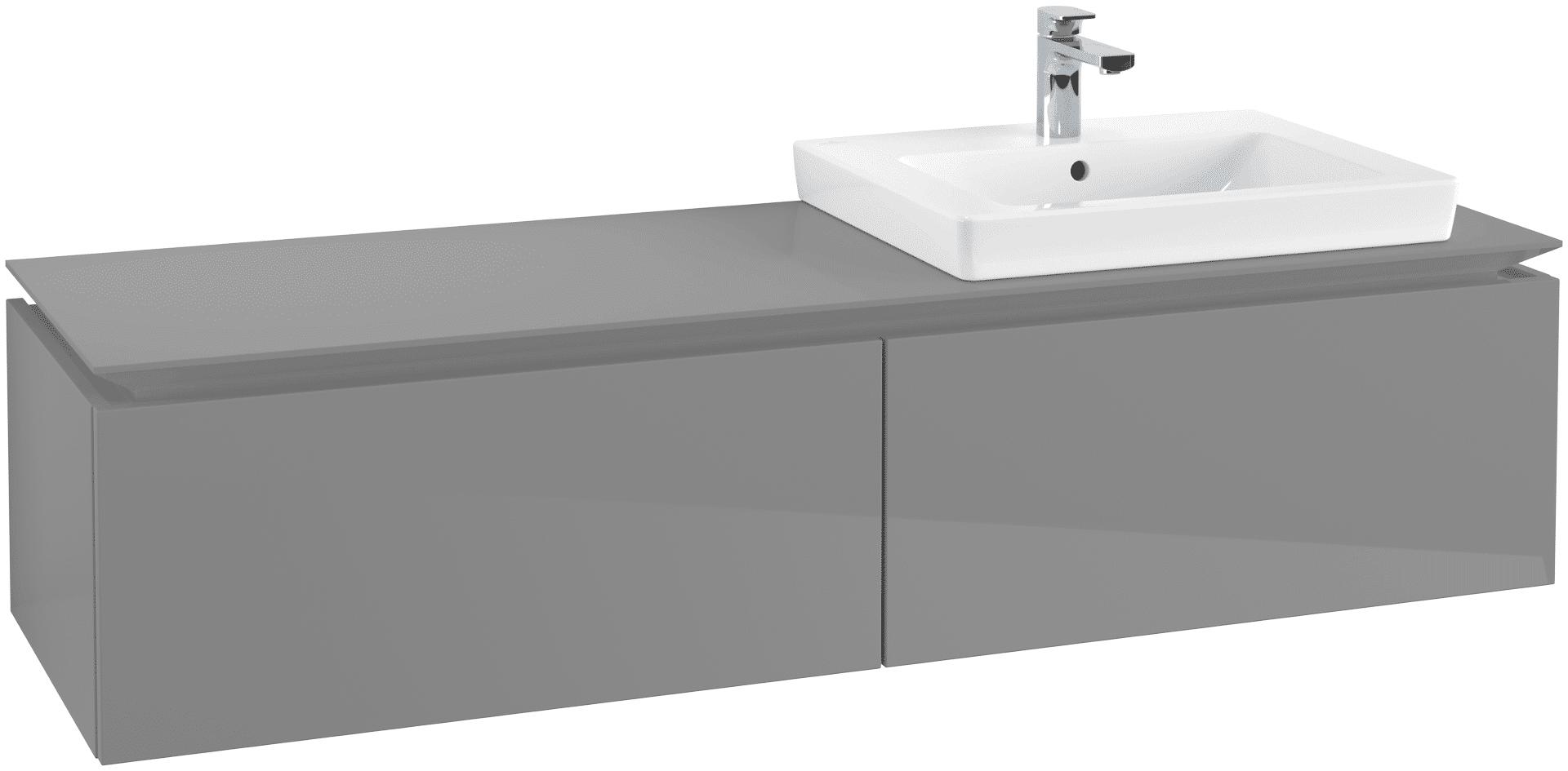 Villeroy & Boch Villeroy & Boch Legato - Meuble sous lavabo with 2 drawers & 1 cut-out right 1600 x 380 x 500mm gris lustré