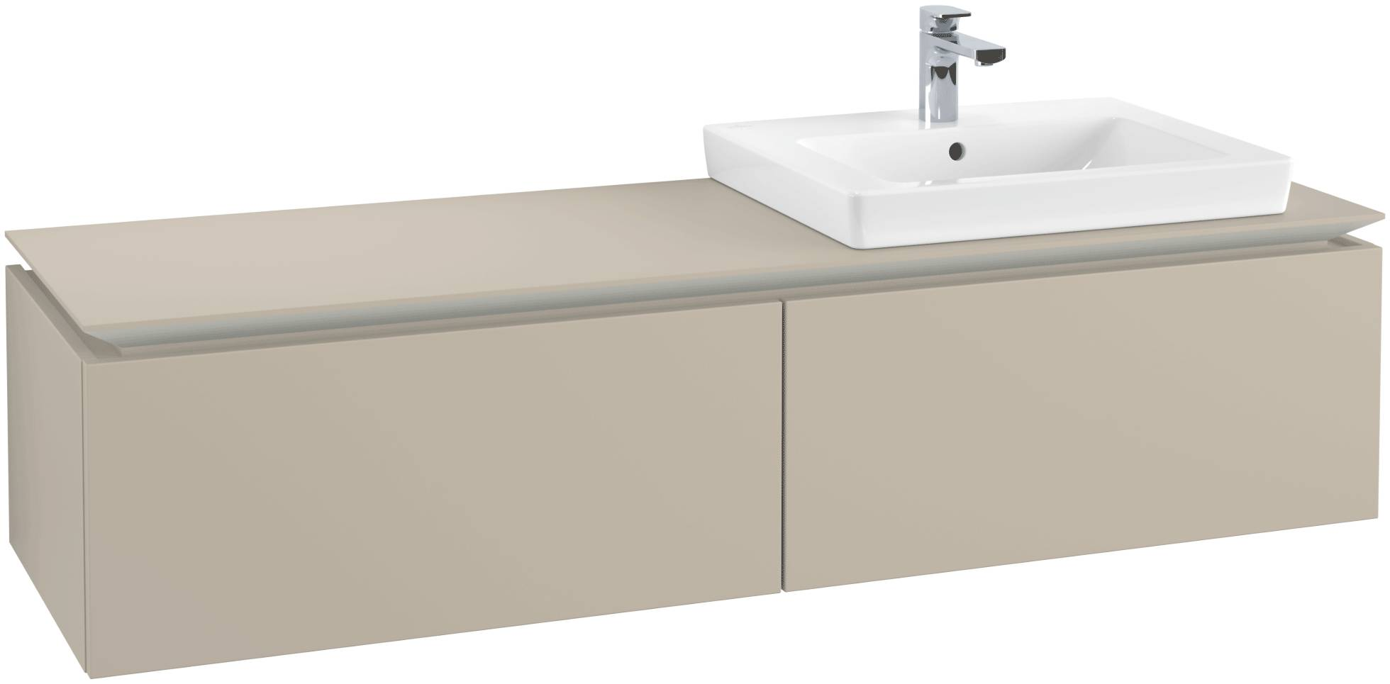 Villeroy & Boch Villeroy & Boch Legato - Meuble sous lavabo with 2 drawers & 1 cut-out right 1600 x 380 x 500mm soft grey
