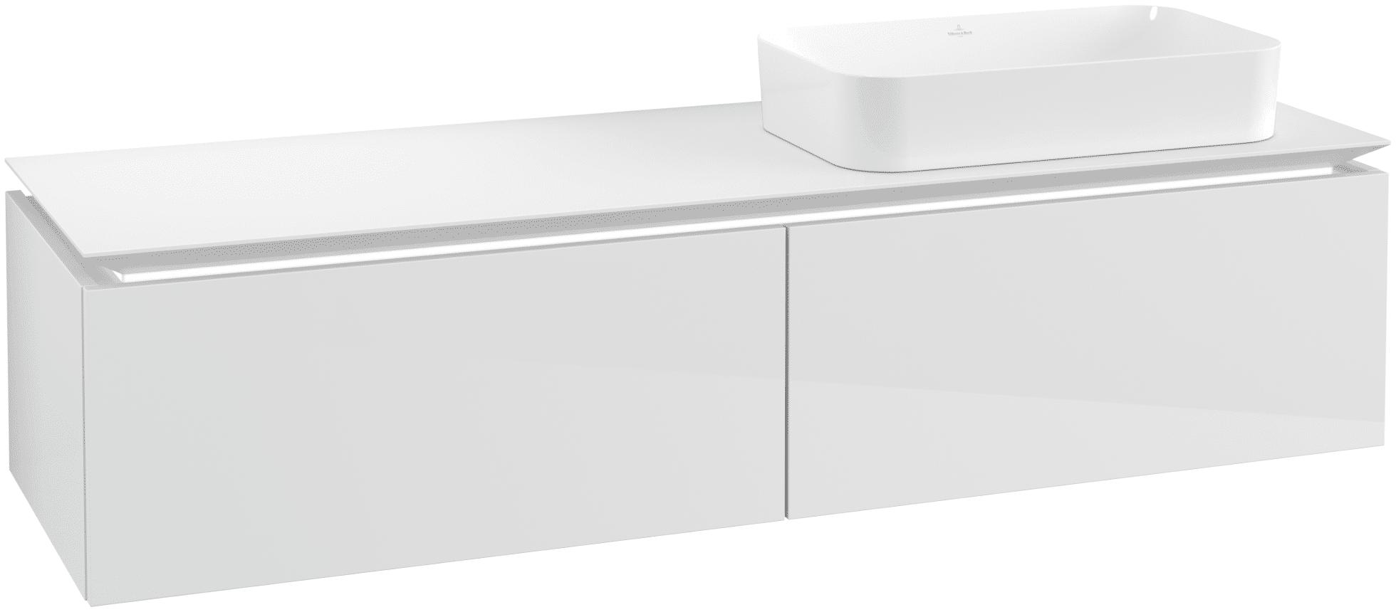 Villeroy & Boch Villeroy & Boch Legato - Meuble sous lavabo with 2 drawers & 1 cut-out right 1600 x 380 x 500mm blanc lustré