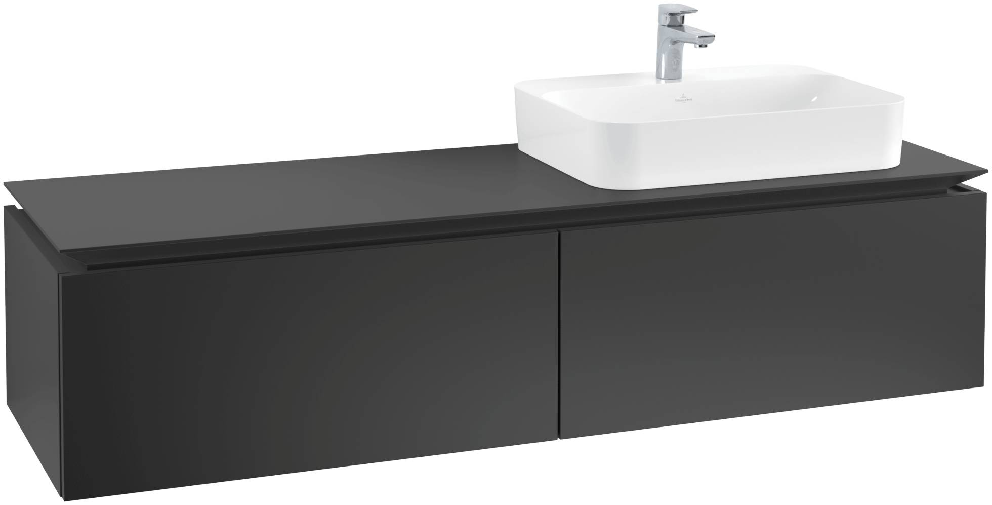 Villeroy & Boch Villeroy & Boch Legato - Meuble sous lavabo with 2 drawers & 1 cut-out right 1600 x 380 x 500mm noir mat