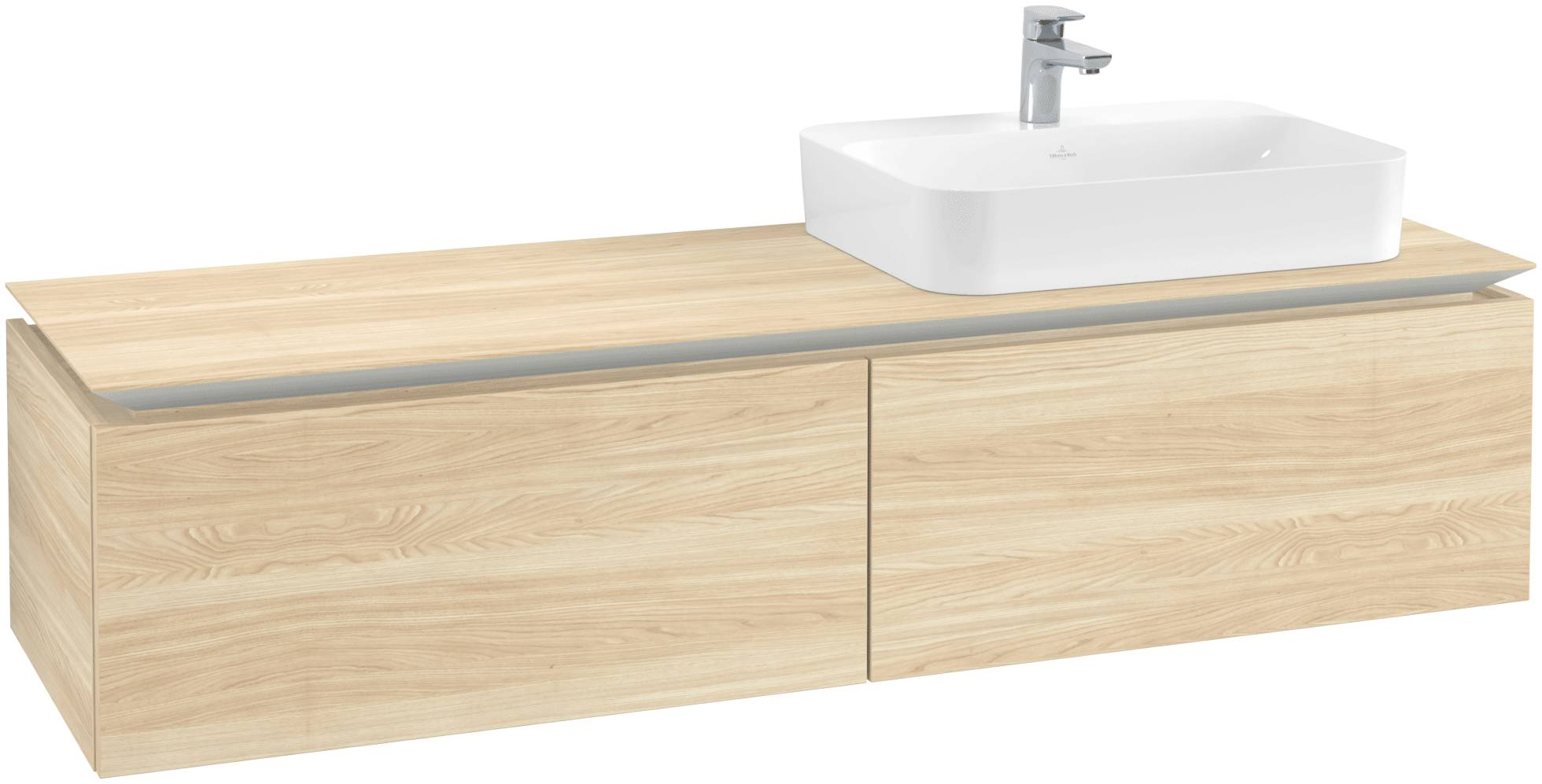 Villeroy & Boch Villeroy & Boch Legato - Meuble sous lavabo with 2 drawers & 1 cut-out right 1600 x 380 x 500mm orme impresso
