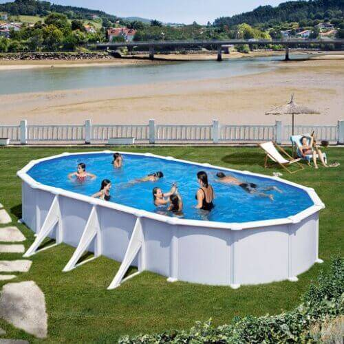 GRE Piscine acier Gré ovale Atlantis 744 x 399 x H.132 cm - Filtre à sable