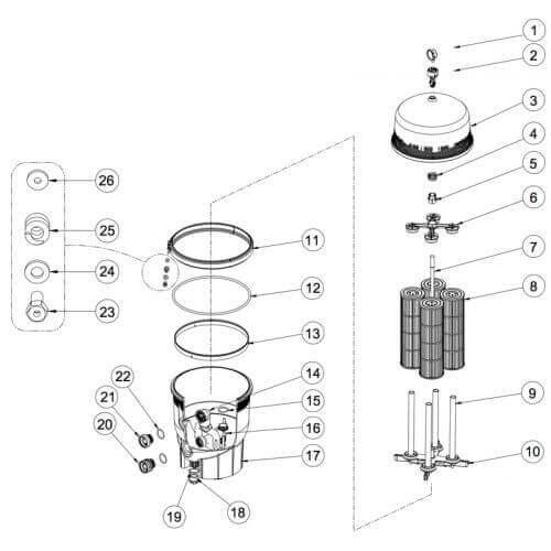 Pentair Cartouche filtre PENTAIR DE Quad Exel - 52,58 x 15,88 cm
