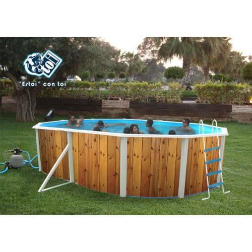 TOI Piscine hors-sol Veta 550 x 366 x H120 cm - Filtre à sable