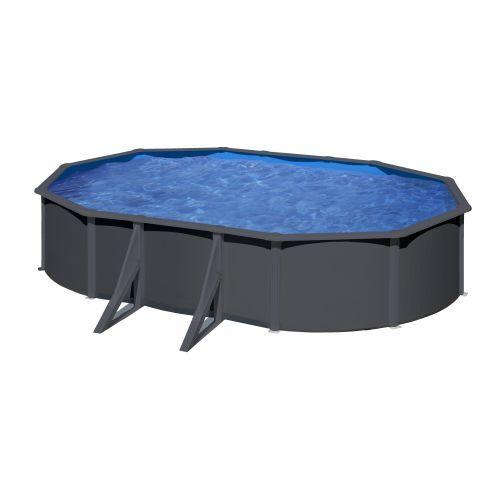 GRE Piscine acier Gré ovale Louko 6,34 x 3,99 x H.122 cm - Filtre à sable