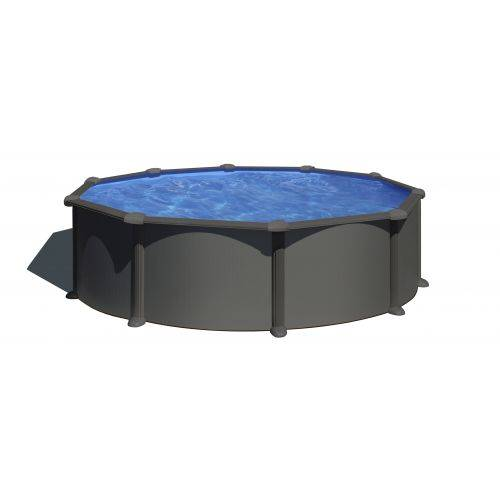 GRE Piscine acier Gré ronde Antracita Ø 570 x 132 cm - Filtre à sable