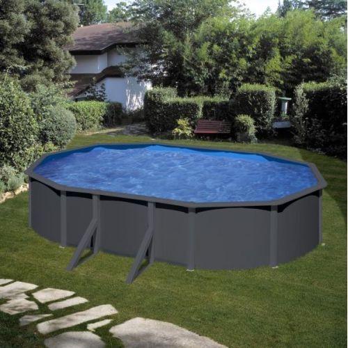 GRE Piscine acier Gré ovale Antracita 6,34 x 3,99 x H.132 cm - Filtre à sable
