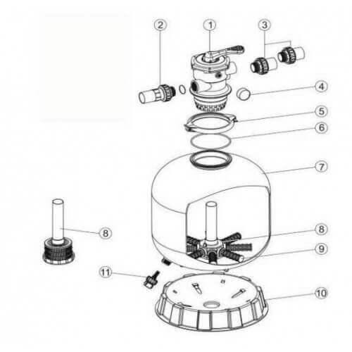 ACIS - VIPool Ensemble pièces n°1, 2, 3, 5, 6 - Filtre ACIS VIPool Top