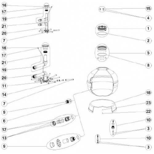 Astralpool n°18 - Socle D. 1050 FILTRE SAB Vesubio Europa