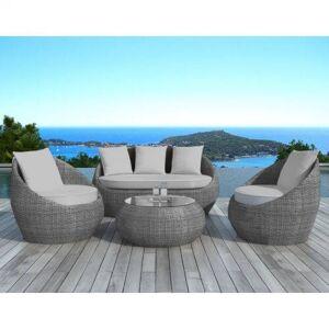 Delorm Design Salon de jardin gris en résine tressée ronde - MALAGA - Publicité