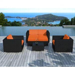 Delorm Design Salon de jardin d'angle en résine tressée - noir et orange- 6 places - PAUSA