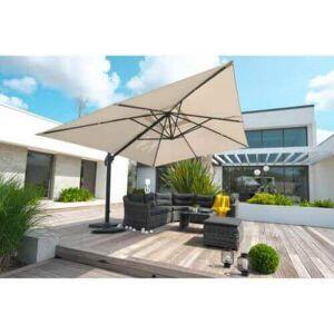 DCB Garden Parasol aluminium 4 x 3 m avec pied excentré - GRIS - Publicité