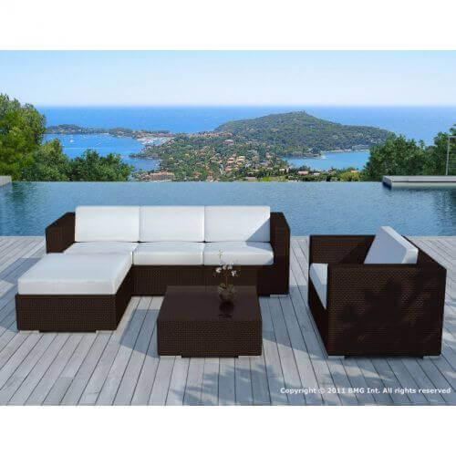 Delorm Design Salon de jardin en résine tressée chocolat et blanc- 5 places - COPACABANA