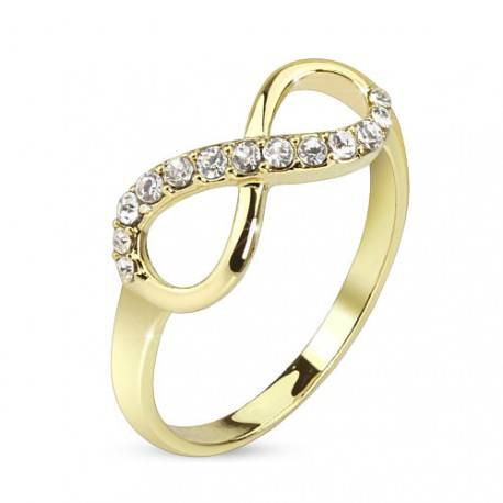 UrbanBijoux Bague femme plaqué or 14 carats pierres zircon mariage symbole infini Taille ∅ - 59