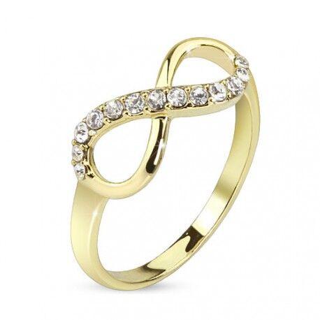 UrbanBijoux Bague femme plaqué or 14 carats pierres zircon mariage symbole infini Taille ∅ - 50