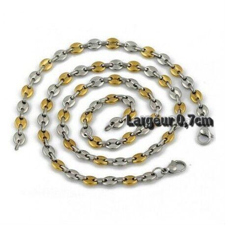 UrbanBijoux Parure bracelet et chaine homme acier et plaqué or grain de café 7mm