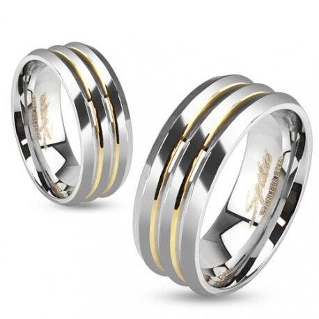 UrbanBijoux Bague anneau homme en titane et 2 lignes bandes plaqué or 18 carats Taille ∅ - 62