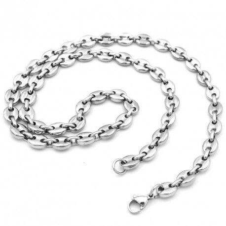 UrbanBijoux Chaine collier pour homme acier inoxydable maille grain de café 6mm