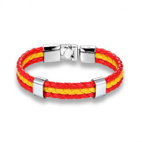 UrbanBijoux Bracelet homme cuir acier couleur drapeau espagnole rouge et jaune