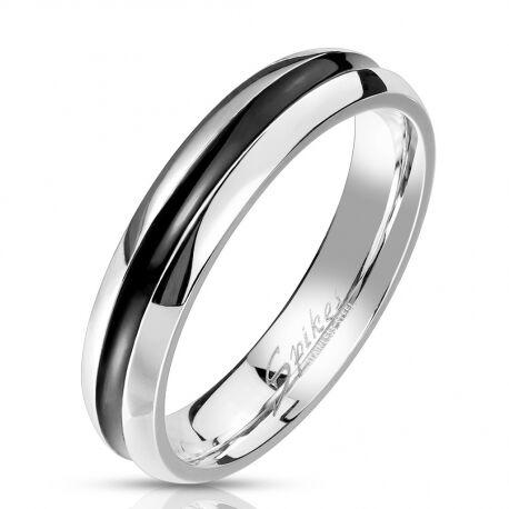 UrbanBijoux Bague anneau homme femme couple acier bande creuse plaqué noire 4mm Taille ∅ - 52