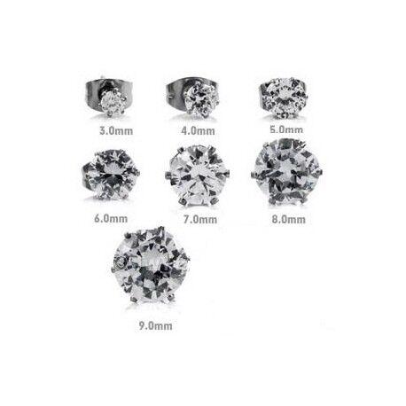 UrbanBijoux Paire boucles d'oreilles homme femme acier inox pierre blanche ronde Diamètre ∅ - 8mm
