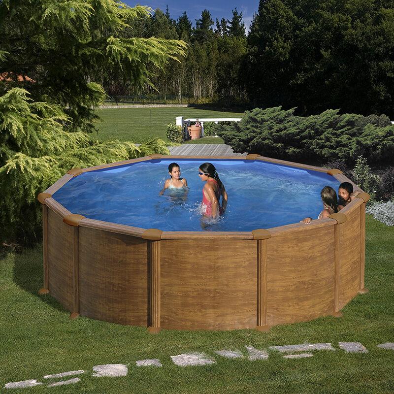 Gré Piscine acier Gré aspect bois Mauritius ronde Dimension - 3,50 x h1,32m