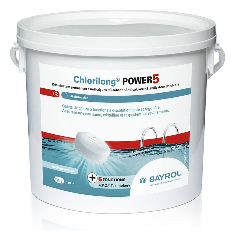 Bayrol Chlorilong Power 5 Bayrol - chlore lent multiactions Quantité - Seau de 5 kg