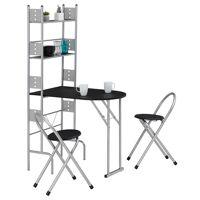 IDIMEX Ensemble table de cuisine pliable avec étagères et 2 chaises JONATHAN, noir <br /><b>89.95 EUR</b> Mobil Meubles