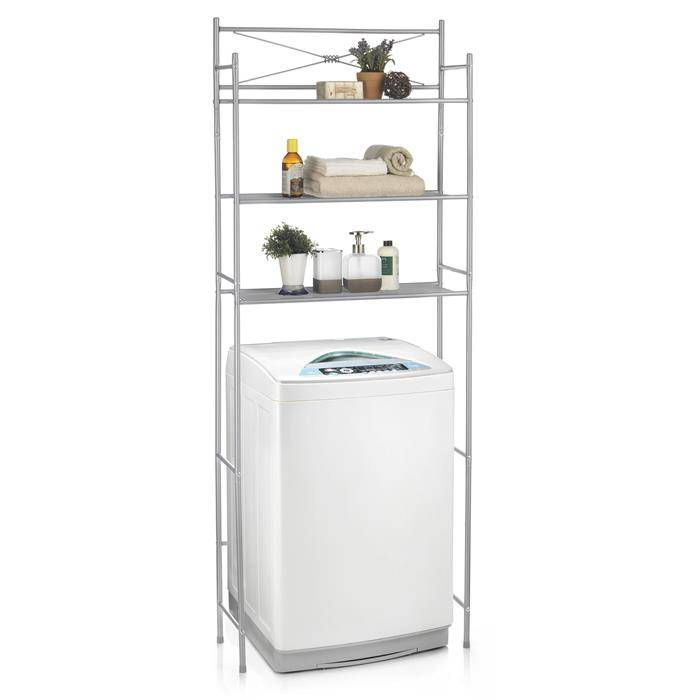 IDIMEX Etagère de salle de bain MARSA, rangement pour WC/lave-linge, en métal laqué gris