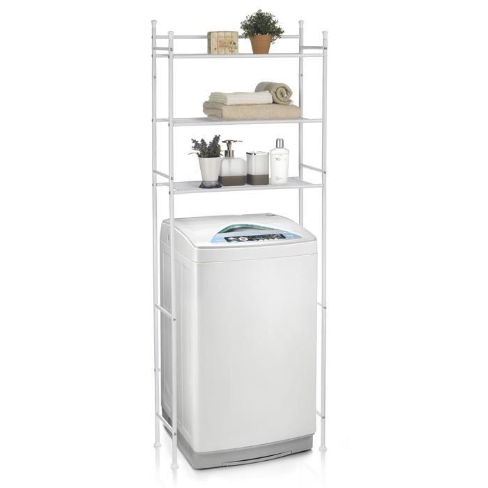 IDIMEX Etagère de salle de bain LAVADORA, rangement pour WC/lave-linge, en métal blanc
