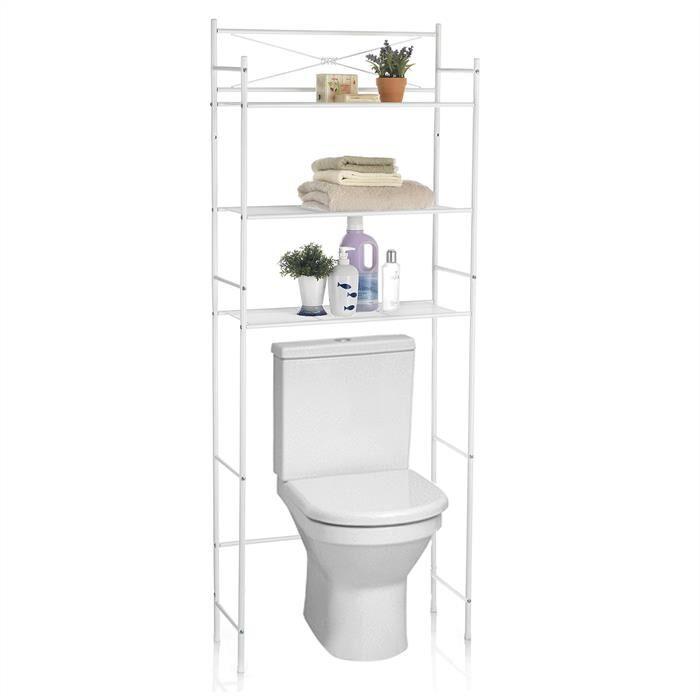 IDIMEX Etagère de salle de bain MARSA, rangement pour WC/lave-linge, en métal laqué blanc