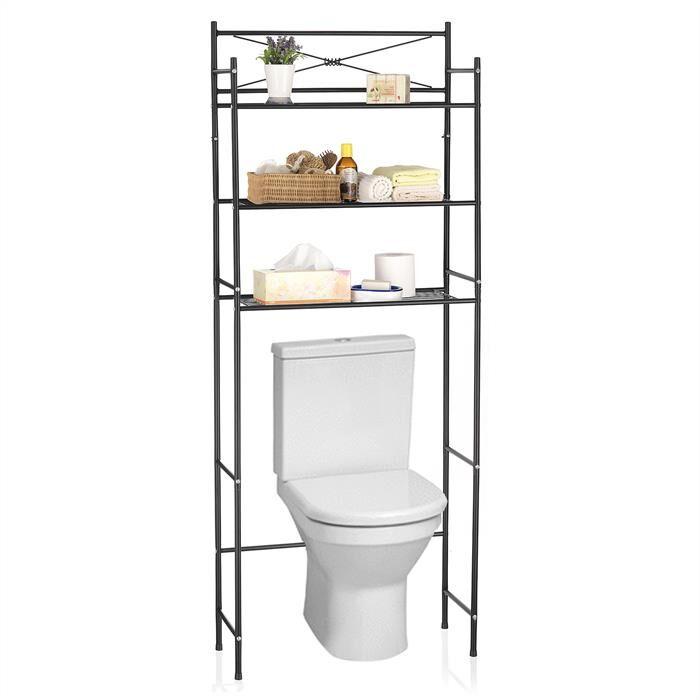 IDIMEX Etagère de salle de bain MARSA, rangement pour WC/lave-linge, en métal laqué noir