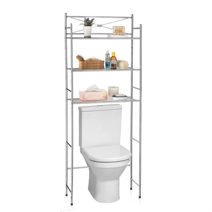 IDIMEX Etagère de salle de bain MARSA, rangement pour WC/lave-linge, en métal chromé