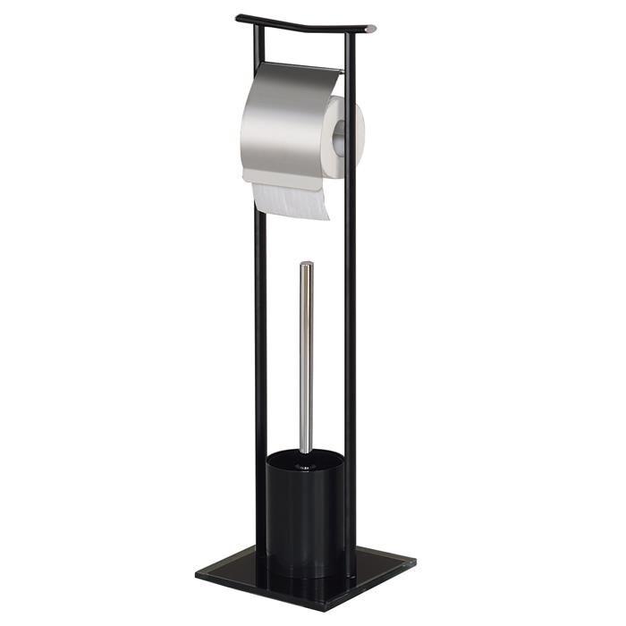 IDIMEX Porte papier toilette ONA avec brosse, métal et verre trempé noirs