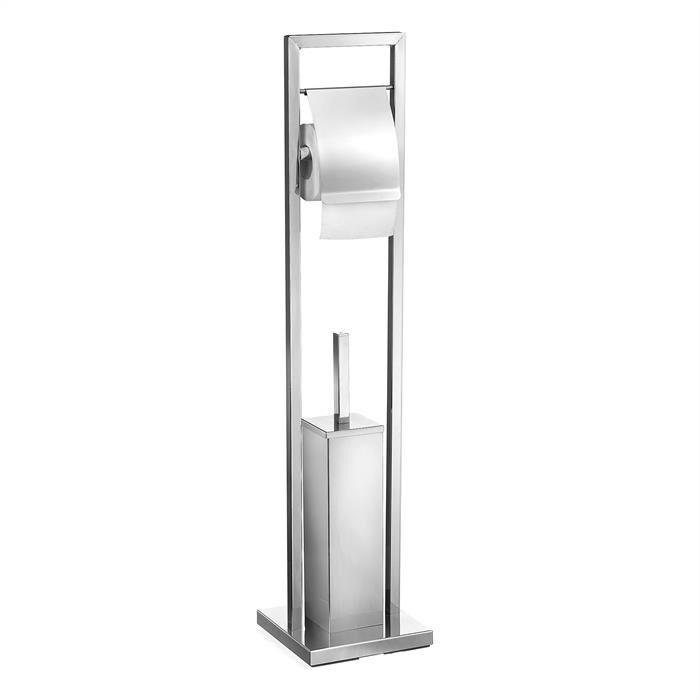 IDIMEX RENATE Porte-papier toilette dérouleur avec brosse WC, en métal chromé