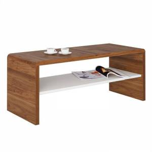 IDIMEX Table basse / Meuble TV LOUNA, en mélaminé couleur noyer et blanc mat - Publicité