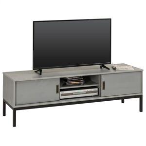 IDIMEX Meuble TV SELMA, 2 portes coulissantes, lasuré gris - Publicité