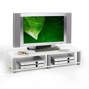 IDIMEX Meuble TV GERO, 2 niches, blanc