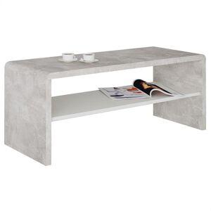 IDIMEX Table basse / Meuble TV LOUNA, en mélaminé décor béton et blanc mat - Publicité