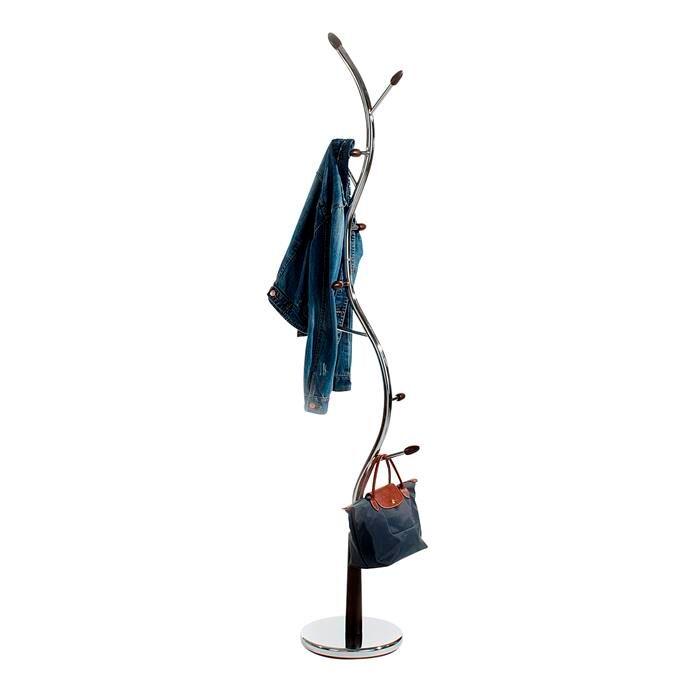 IDIMEX Porte-manteaux ASTRID, en métal chromé et bois teinté wengé